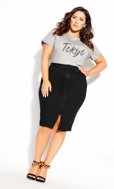 Plus Size Midi Denim Skirt - black