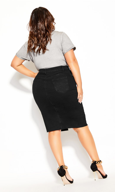 Midi Denim Skirt - black