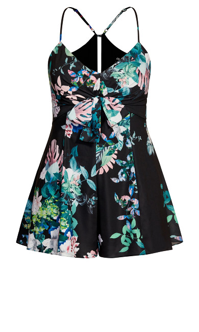 Lush Floral Playsuit - black