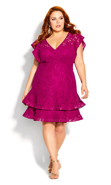 Plus Size Sienna Dress - framboise