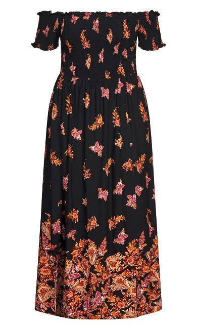 Boho Border Maxi Dress - black