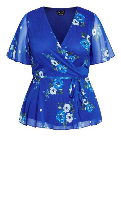 Wrap Floral Top - blue
