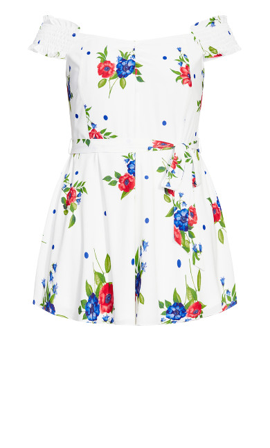 Poppy Floral Playsuit - white