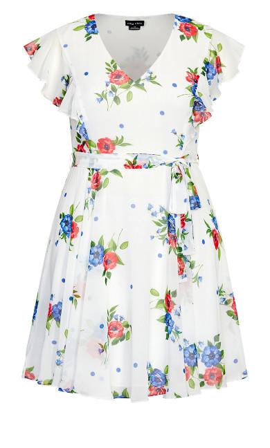 Poppy Floral Dress - white
