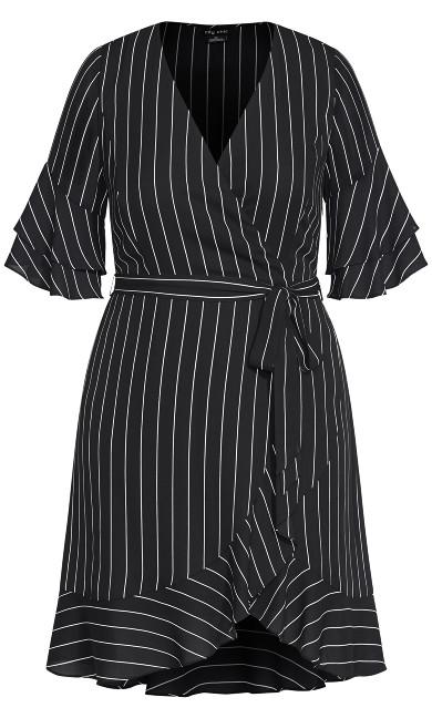 Flutter Stripe Dress - black