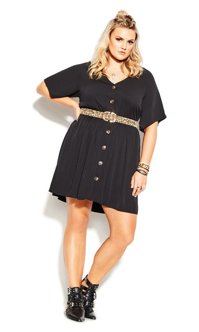 Cute Button Dress - black