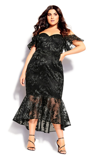 Lace Aflutter Dress - black