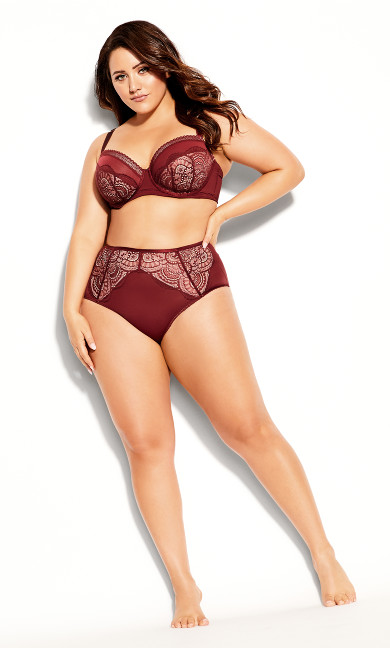 Plus Size Bree Contour Bra - burgundy