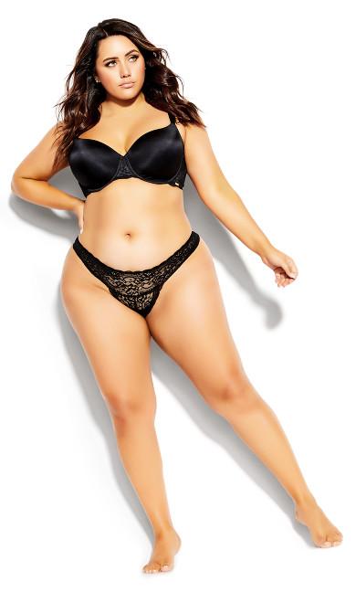 Plus Size Sexy Glam Thong - black