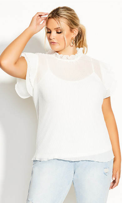 Plus Size Off Beat Top - ivory