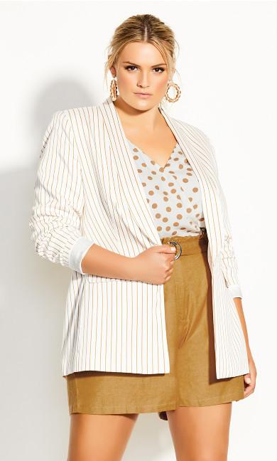 Plus Size Elegant Stripe Jacket - ivory