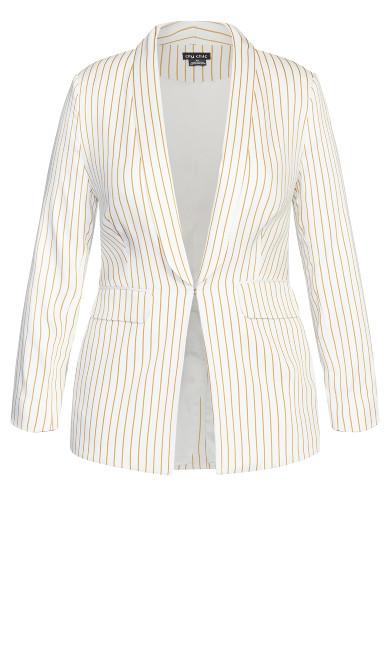 Elegant Stripe Jacket - ivory