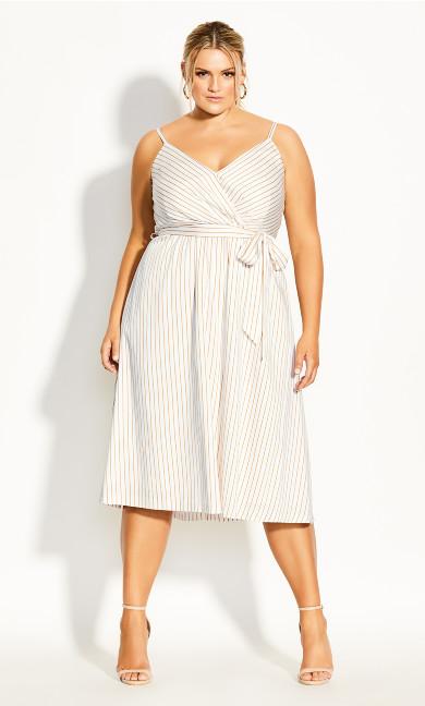 Plus Size Elegant Stripe Dress - ivory