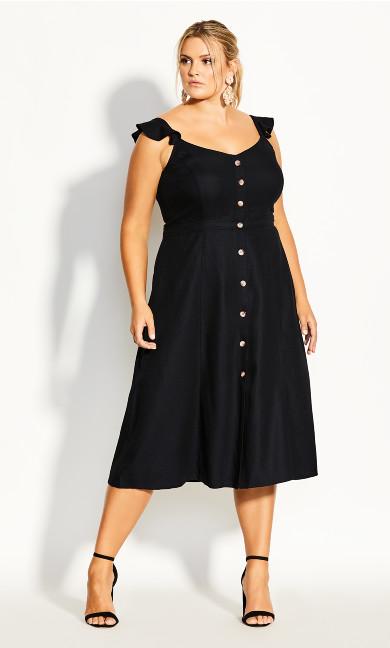 Plus Size Button Cheer Dress - black