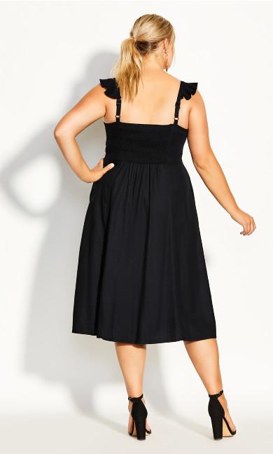 Button Cheer Dress - black