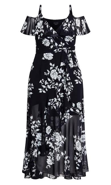 Night Garden Maxi Dress - black