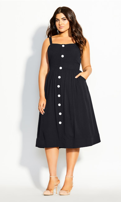 Plus Size Button Grace Dress - black