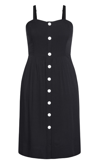 Button Grace Dress - black