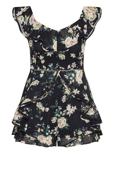 Heirloom Floral Playsuit - black