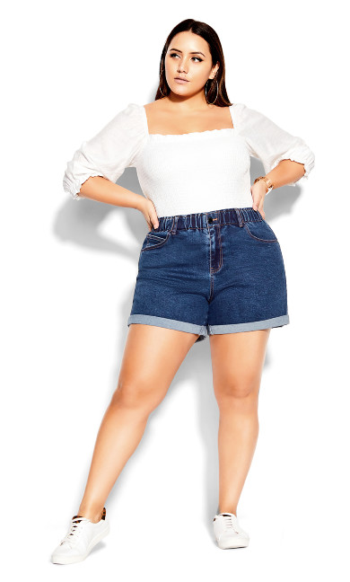 Ruffle Waist Short - mid denim