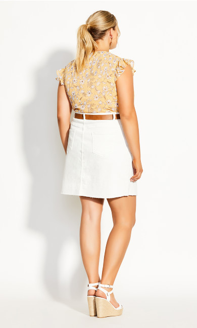 Raw Edge Skirt - ivory