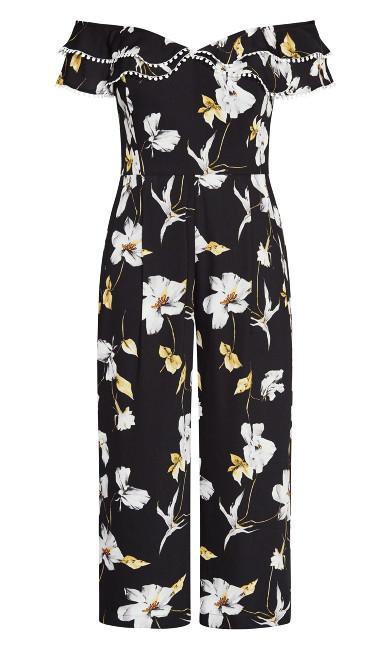 Crepe Floral Jumpsuit - black