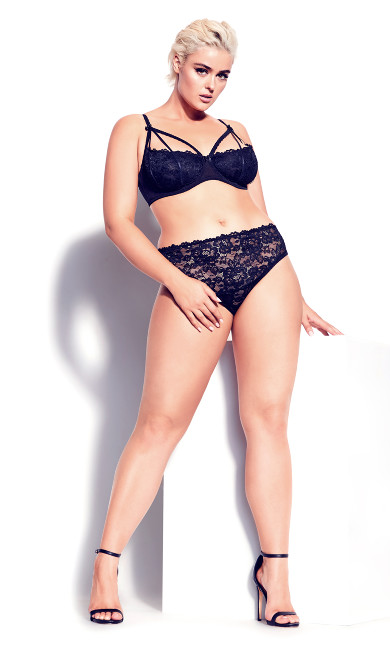 Plus Size Olivia Strappy Lace Bra - Black