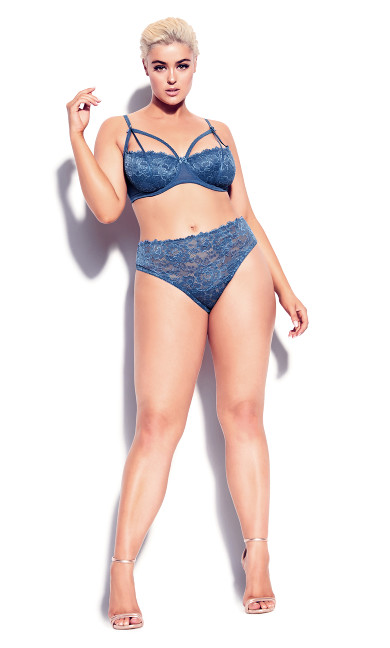 Plus Size Olivia Strappy Lace Bra - dark denim