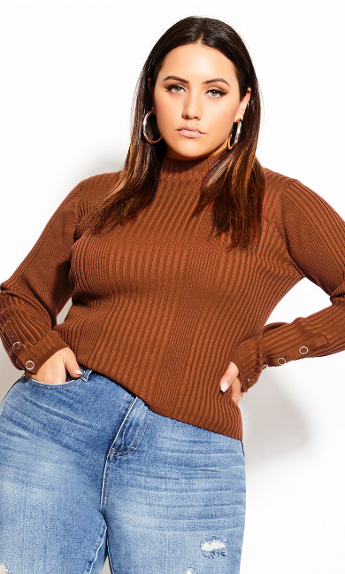 Plus Size Cropped Rib Jumper - toffee