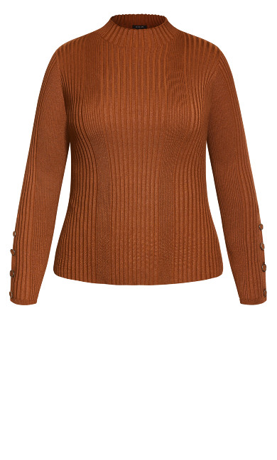 Cropped Rib Sweater - toffee