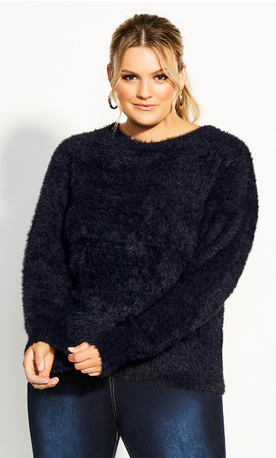 Plus Size Fluffy Jumper - black