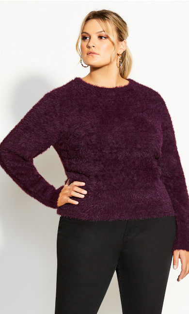 Plus Size Fluffy Jumper - plum