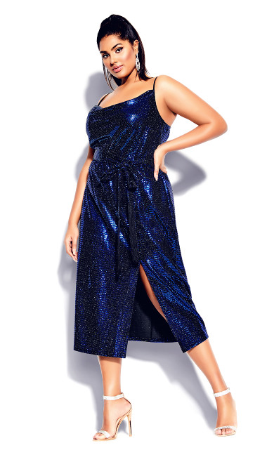 Plus Size Disco Fever Dress - electric blue