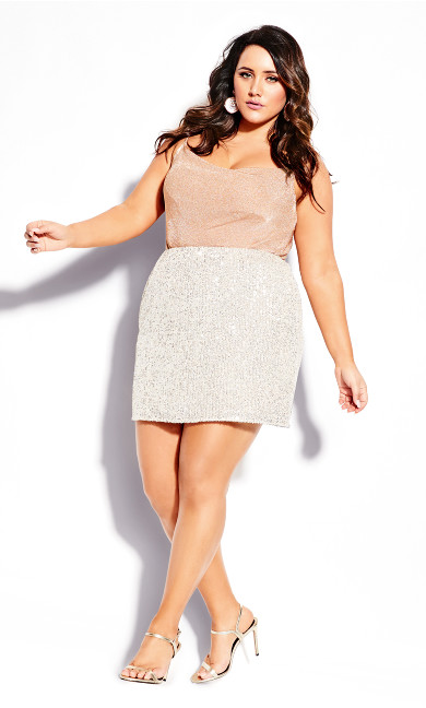 Plus Size Razzle Skirt - beige
