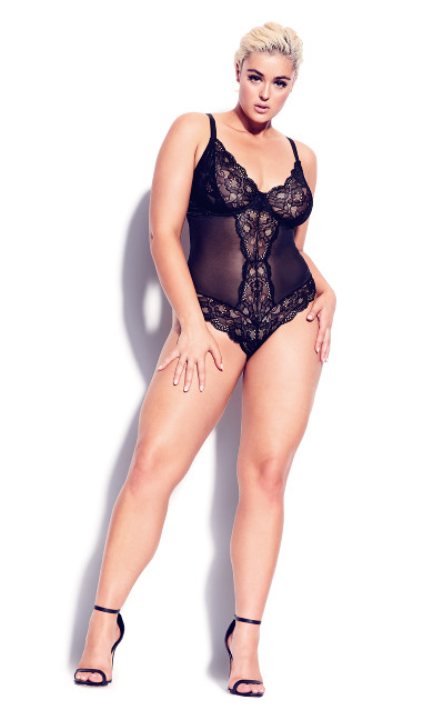 Plus Size Kiki Mesh Body - black
