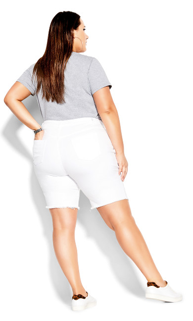 Longline Distressed Short - white