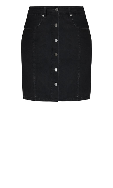 Denim Charm Skirt - black