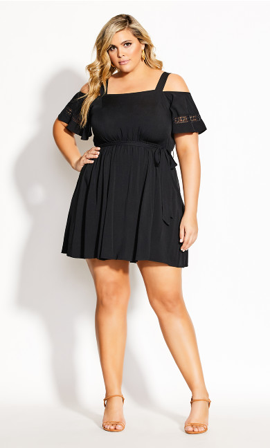 Plus Size Trim Shoulder Dress - black