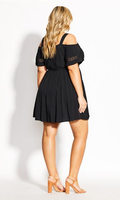 Trim Shoulder Dress - black