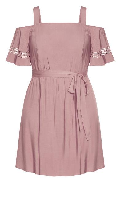 Trim Shoulder Dress - woodrose
