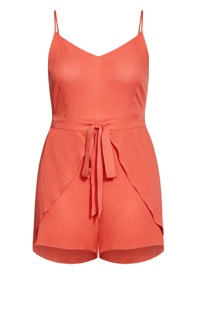 Tropic Tie Playsuit - rust
