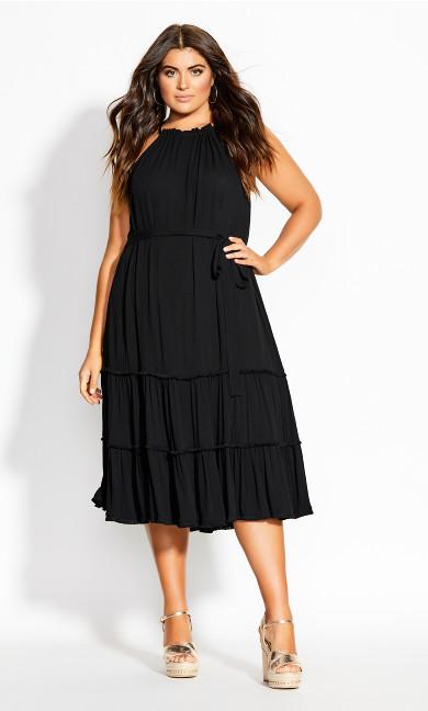 Fringe Tier Maxi Dress - black