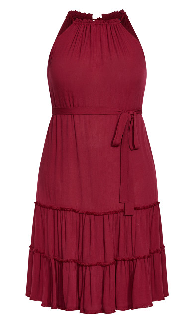 Fringe Tier Maxi Dress - rhubarb