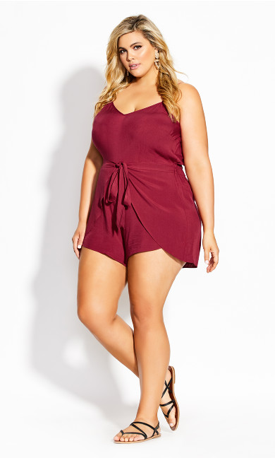 Holiday Tie Playsuit - rhubarb
