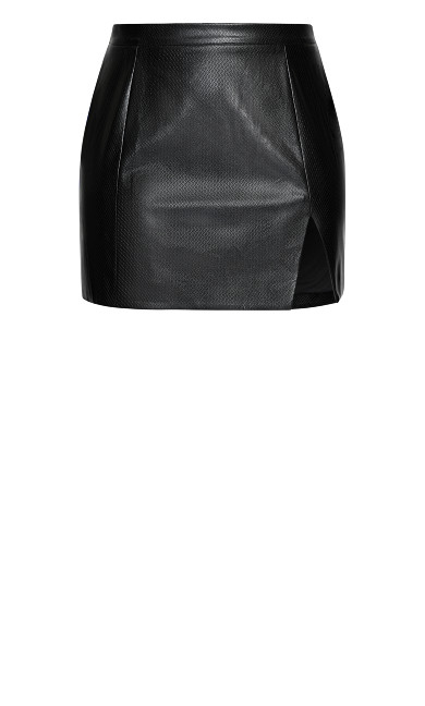 Texture Split Skirt - black