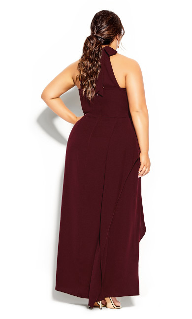 Halter Flair Maxi Dress - imperial
