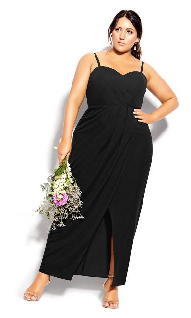 Plus Size Sweet Drape Maxi Dress - black