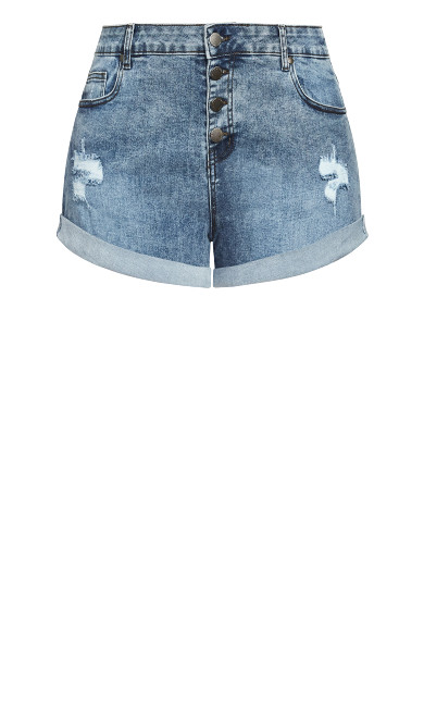 Denim Cuff Short - gray
