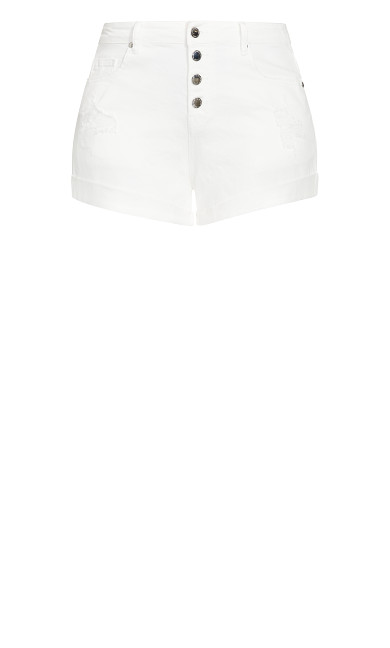Denim Cuff Short - white