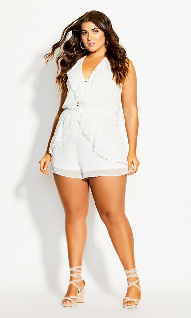 Plus Size Angelic Playsuit - ivory